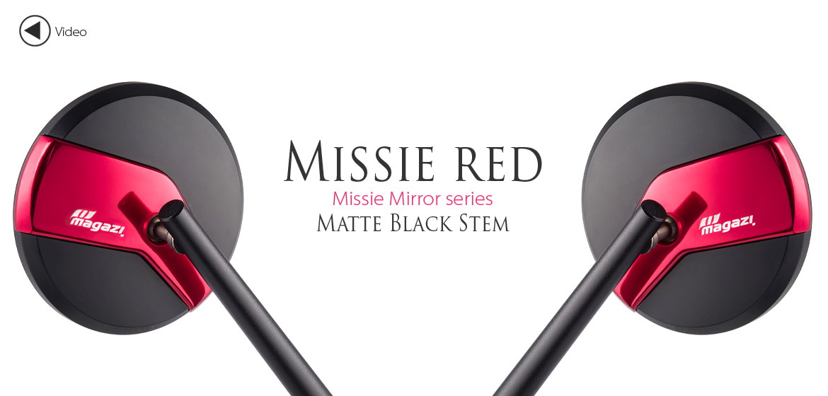 Magazi Missie red matte stem mirrors a pair for scooter motorcycle, golf cart