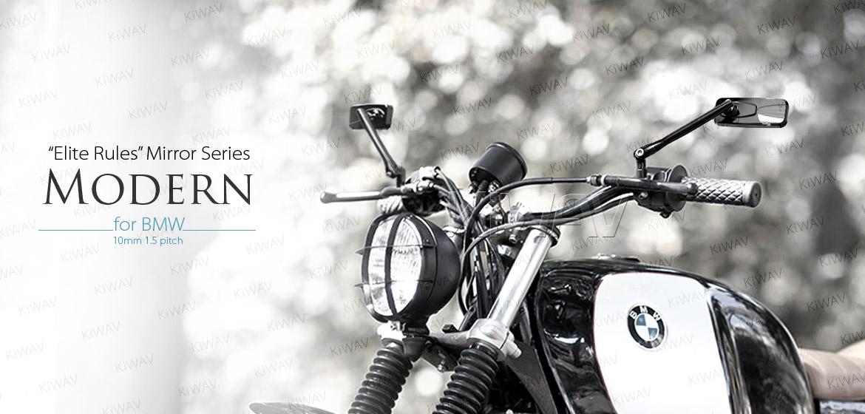 KiWAV Modern black motorcycle mirrors for BMW