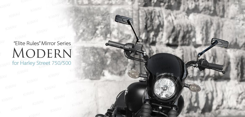 KiWAV Modern black motorcycle mirrors for Harley Steet 750 550