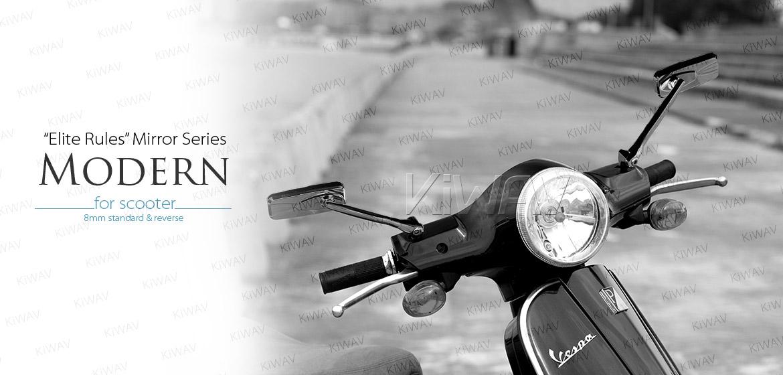 KiWAV Modern black motorcycle mirrors for scooter