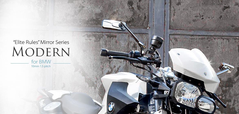 KiWAV Modern chrome motorcycle mirrors for BMW