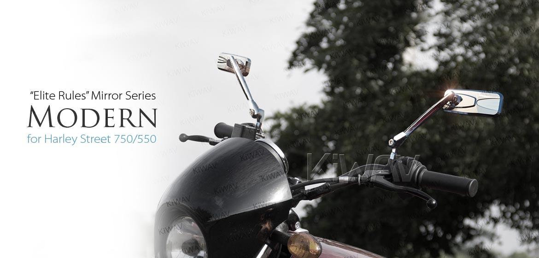 KiWAV Modern chrome motorcycle mirrors for Harley Steet 750 500