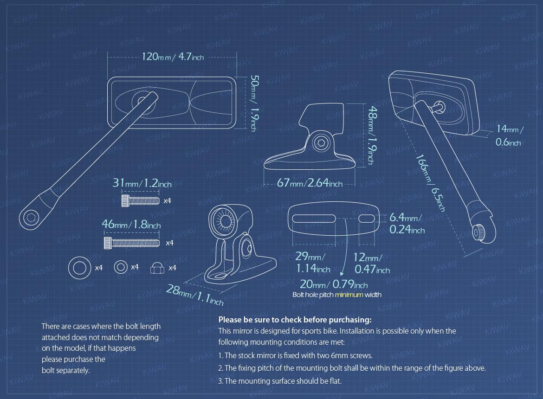 Measurement of KiWAV Modern motorcycle mirrors for sportsbike