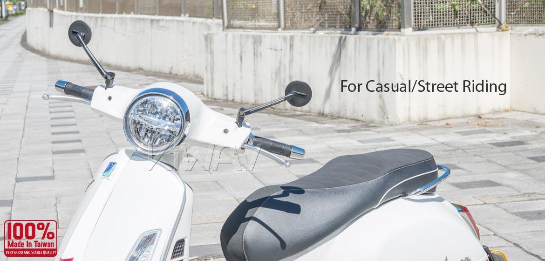KiWAV motorcycle mirrors Ojo black compatible for most modern Vespa models, GTS/ GTV/ LX/ LT/ LXV/ S