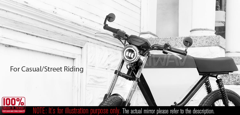 KiWAV motorcycle bar end mirrors Ojo black compatible for BMW