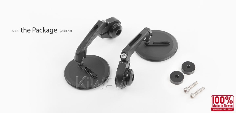 KiWAV motorcycle bar end mirrors Ojo black compatible with some Vespa models, GTS/ GTV/ GT