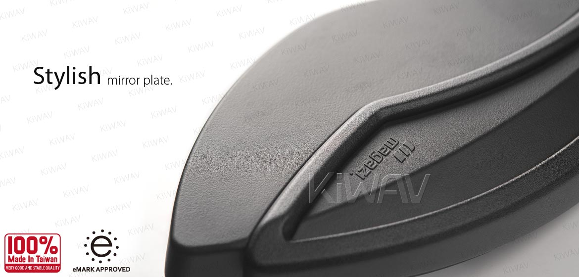 KiWAV motorcycle mirrors Orca black for 10mm 1.5 pitch BMW