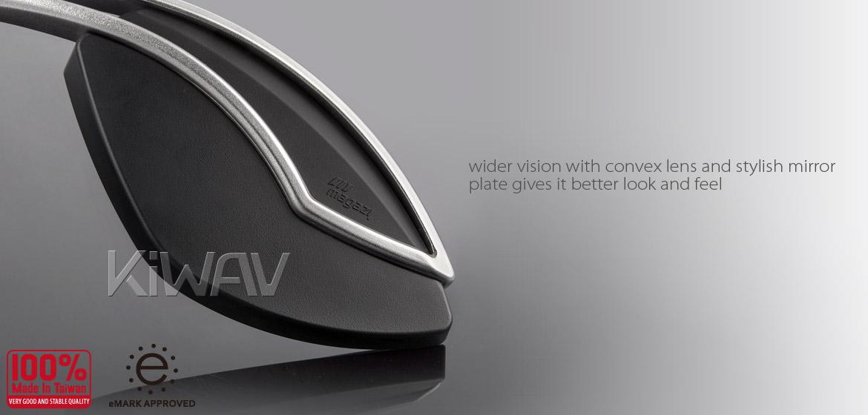 KiWAV motorcycle mirrors Orca silver & black 10mm universal Magazi