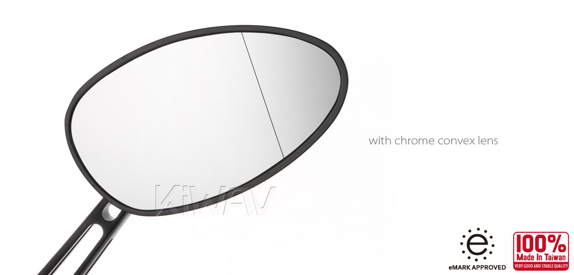 KiWAV OvalMX black motorcycle mirrors scooter fit Magazi