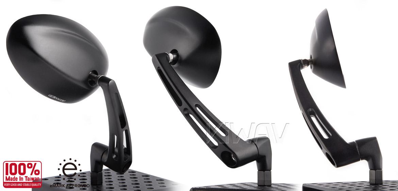 KiWAV OvalMX black motorcycle mirrors bmw fit Magazi