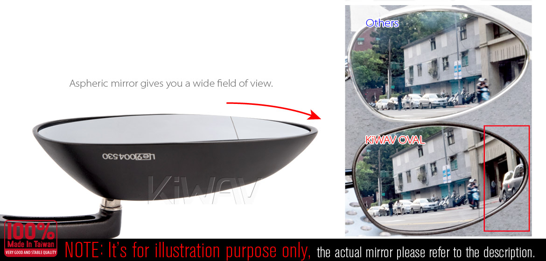 KiWAV motorcycle OvalMX black mirrors with black base for sportsbike for sportsbike