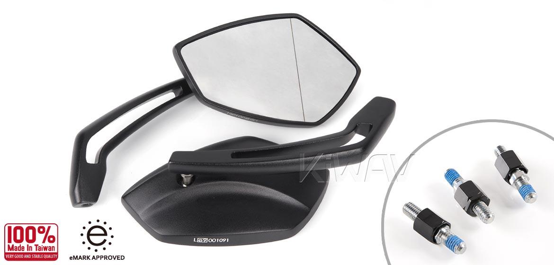 KiWAV motorcycle mirrors Palm black scooter Magazi