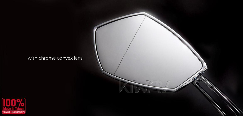 KiWAV motorcycle mirrors Palm chrome 10mm universal Magazi