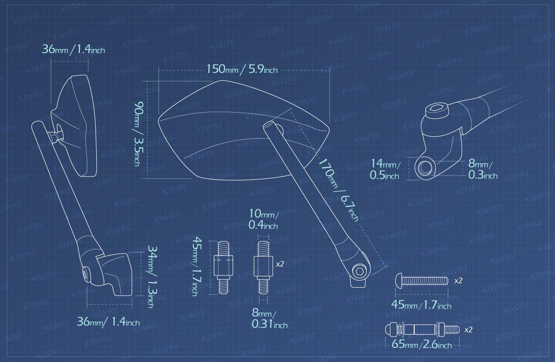 Measurement of KiWAV motorcycle mirrors PalmII/black Metric 10mm Harley bikes