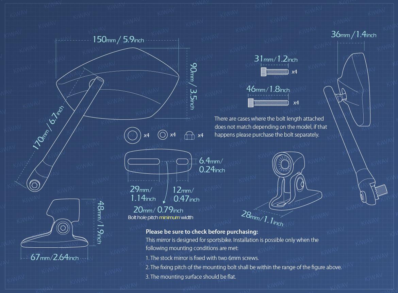 Measurement of KiWAV motorcycle mirrors PalmII black fairing mount