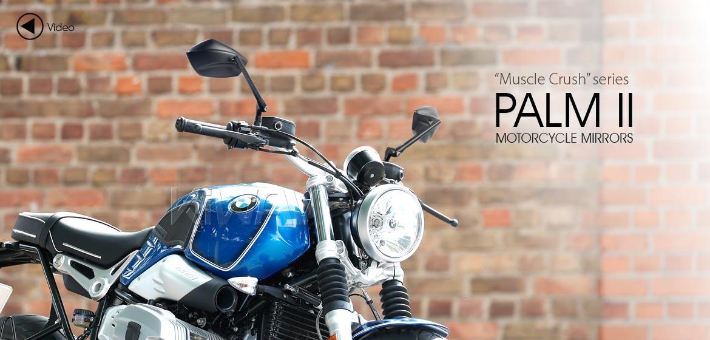 KiWAV motorcycle mirrors PalmII black 10mm 1.5pitch for BMW