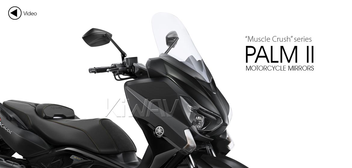 KiWAV motorcycle mirrors PalmII black 8mm for scooters