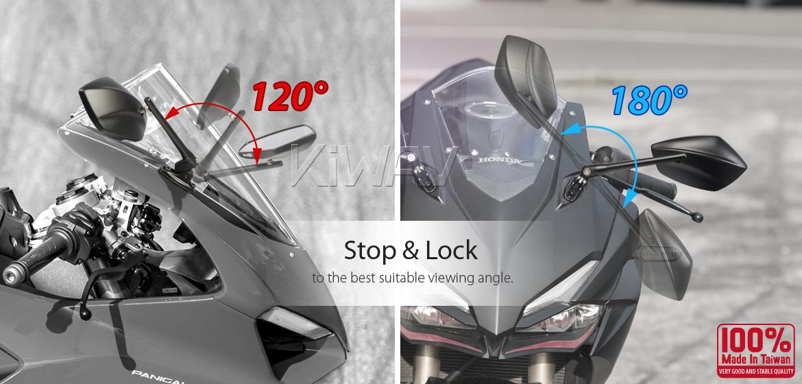 KiWAV motorcycle mirrors PalmII black for Ducati Panigale with chrome adapter
