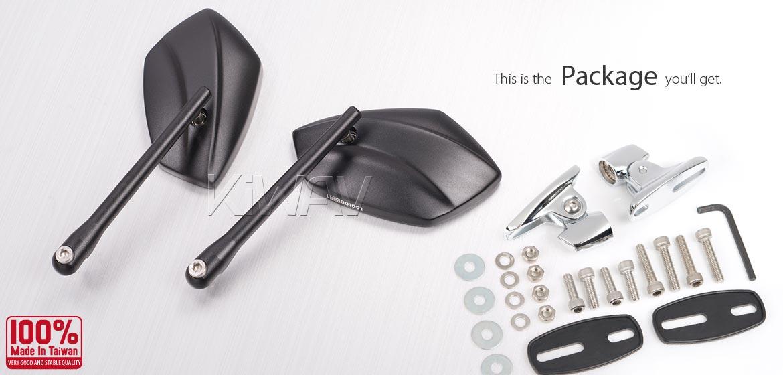 KiWAV motorcycle mirrors PalmII black fairing mount w/ new ver. chrome