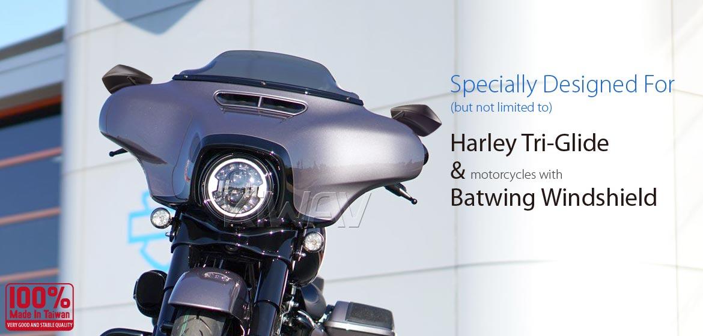 KiWAV motorcycle mirrors PalmII black 10mm, Harley, Magazi