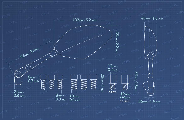 Measurement of KiWAV motorcycle mirrors Panther Metric 10mm 1.5pitch for BMW bikes