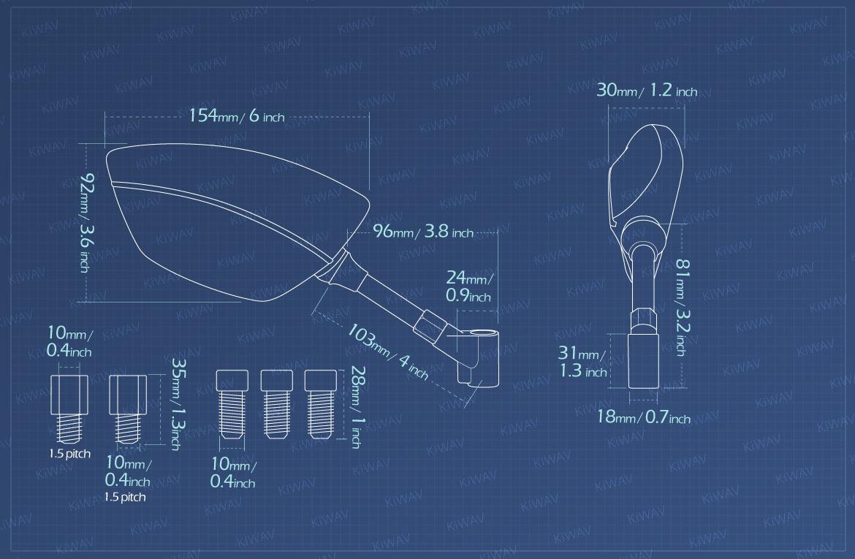 Measurement of KiWAV motorcycle mirrors Redline for BMW 1.5 pitch 10mm Magazi