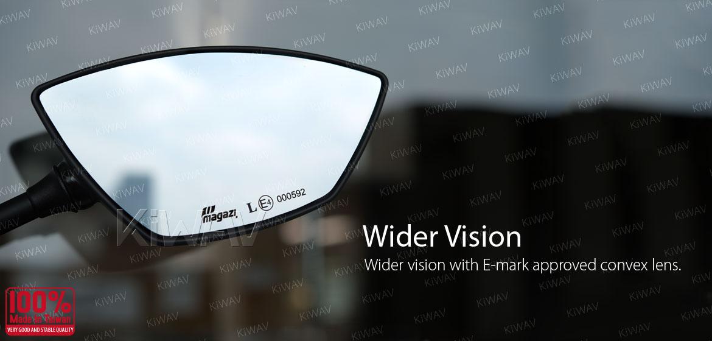 KiWAV Redline motorcycle mirrors for BMW 1.5 pitch 10mm Magazi
