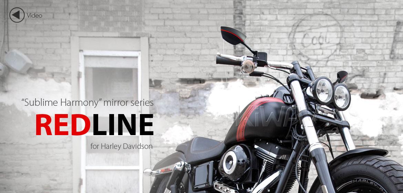 KiWAV Redline motorcycle mirrors for Harley Davidson