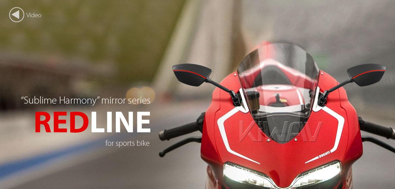 KiWAV Redline fairing mount rearview mirrors for sportsbike motorcycle Magazi