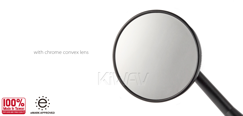 KiWAV motorcycle Retro black sportsbike mirrors with black base for sportsbike