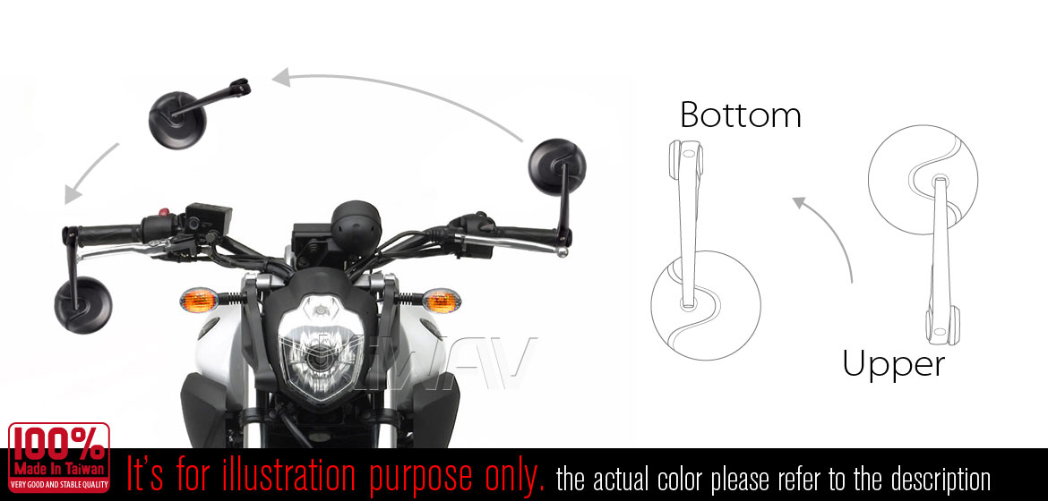 KiWAV RetroHB black motorcycle mirrors