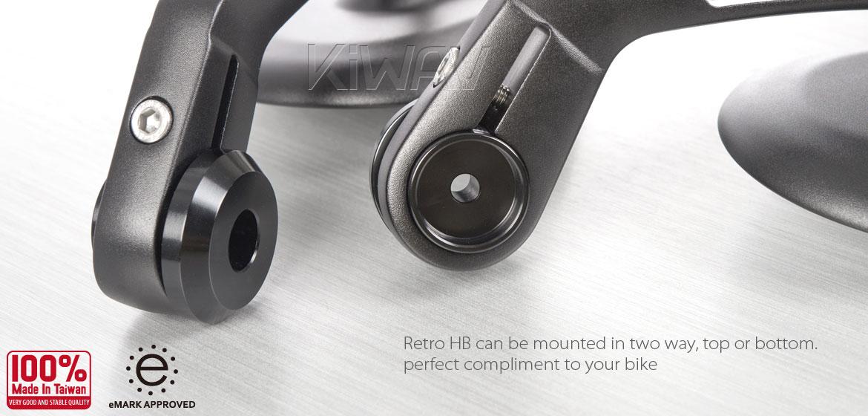 KiWAV motorcycle round bar end mirrors Retro black for 1inch hollow end handlebars