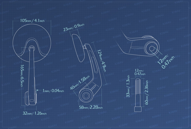 Measurement graph of KiWAV bar end mirrors Retro black for BMW motorcycles