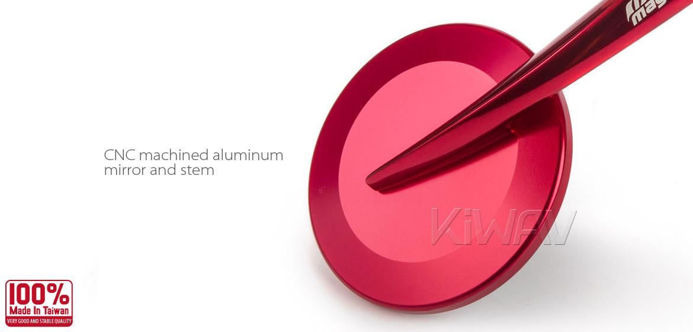 KiWAV Magazi Round 65N dark red bar end mirrors a pair