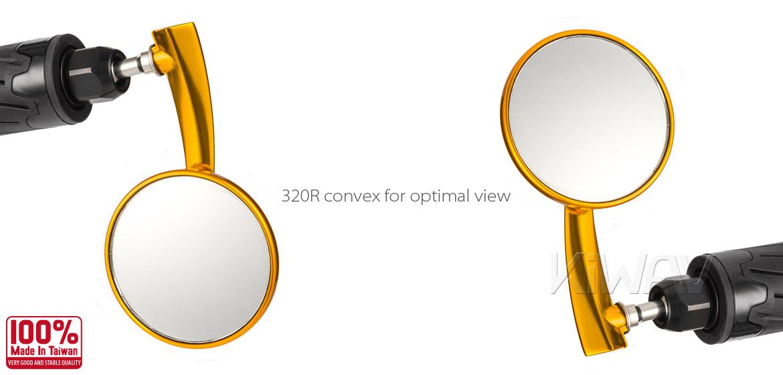 KiWAV Magazi Round 65N orange gold bar end mirrors a pair