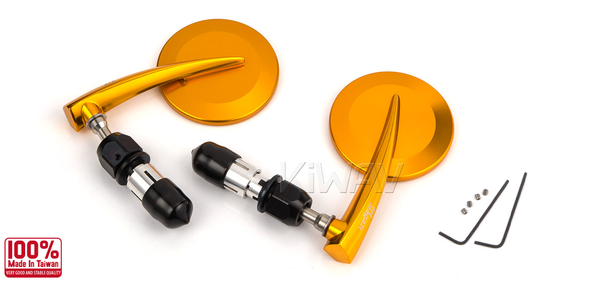 KiWAV Magazi Round 65N orange gold bar end mirrors a pair