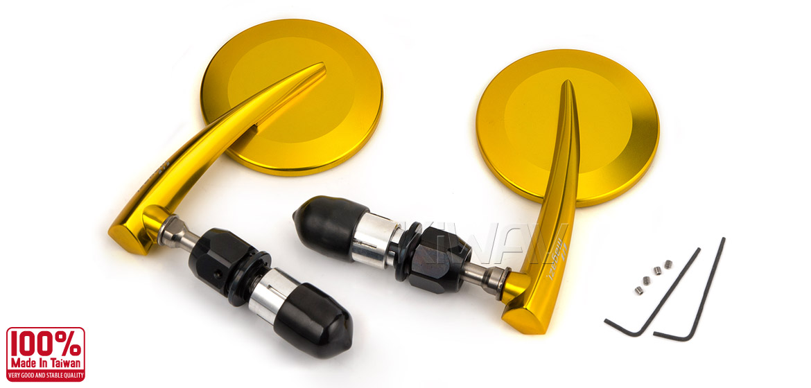KiWAV Magazi Round 65N titanium gold bar end mirrors a pair