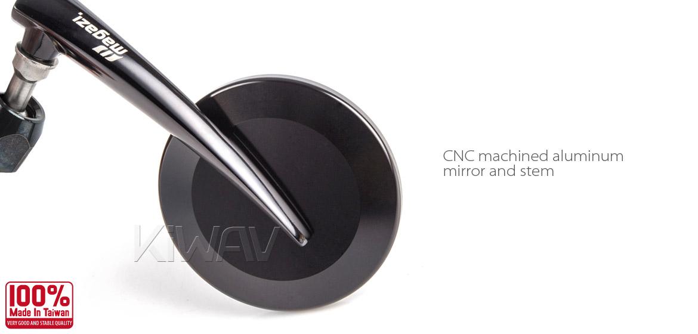 KiWAV Magazi Round 65N black bar end mirrors left hand