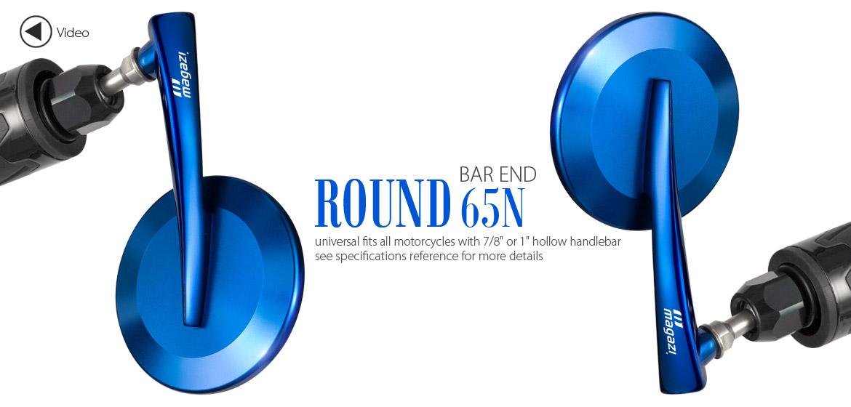 KiWAV Magazi Round 65N blue bar end mirrors a pair