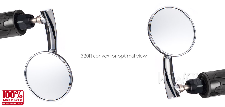 KiWAV Magazi Round 65N chrome bar end mirrors a pair