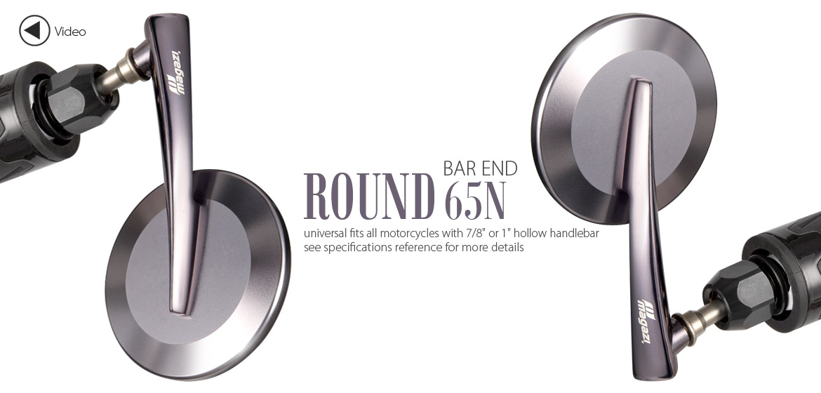 KiWAV Magazi Round 65N gray bar end mirrors a pair
