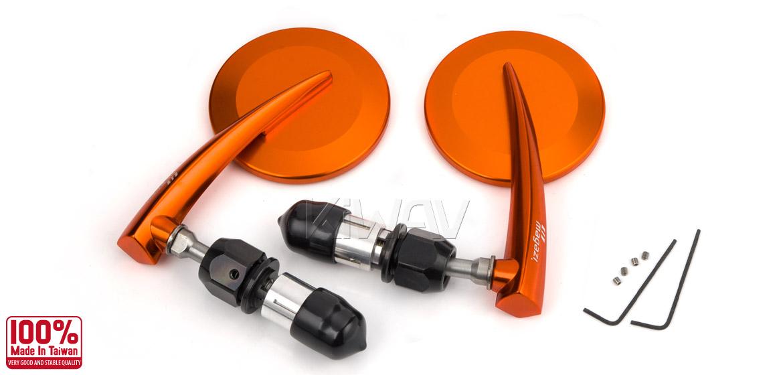 KiWAV Magazi Round 65N orange bar end mirrors a pair
