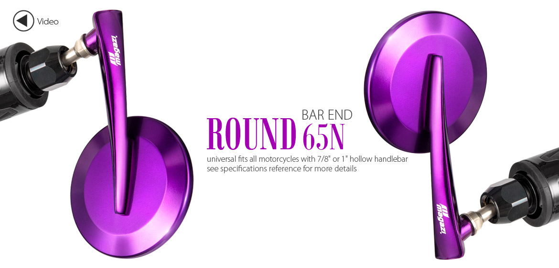 KiWAV Magazi Round 65N purple bar end mirrors a pair