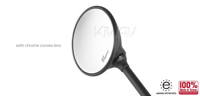 KiWAV Magazi Roundie steel motorcycle mirrors for BMW black