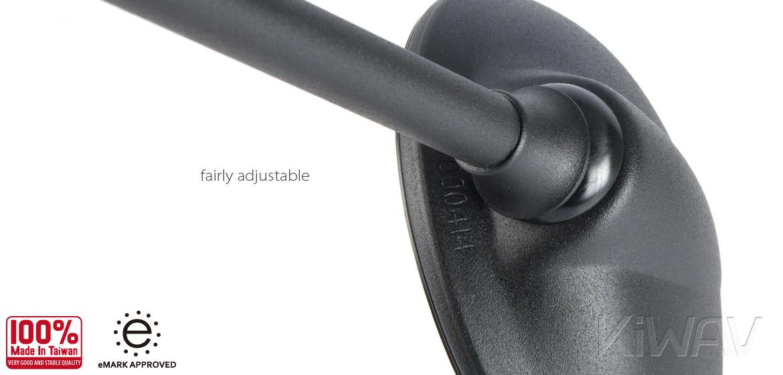 KiWAV Magazi Roundie steel motorcycle mirrors for black for Harley Street 750 550
