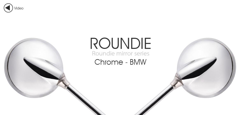KiWAV Magazi Roundie steel motorcycle mirrors for BMW chrome