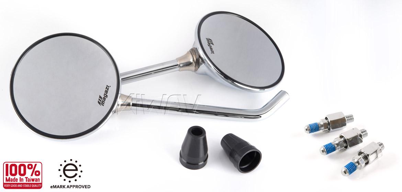 KiWAV Magazi Roundie steel motorcycle mirrors for Scooter chrome