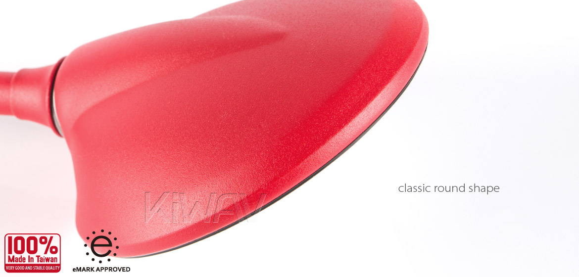 KiWAV Magazi Roundie steel motorcycle mirrors for Scooter red
