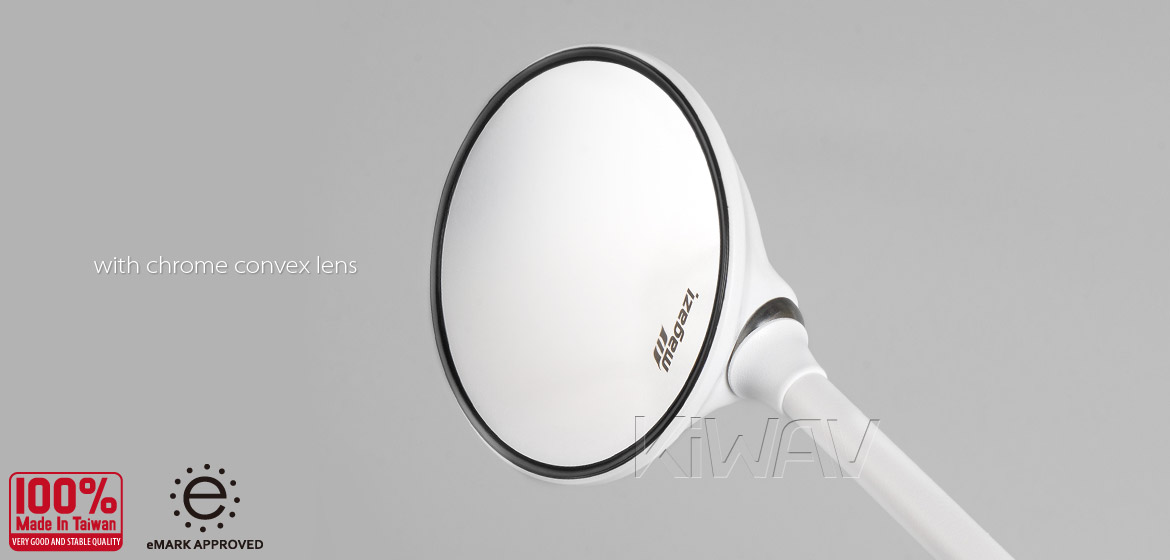 KiWAV Magazi Roundie steel motorcycle mirrors for Scooter white