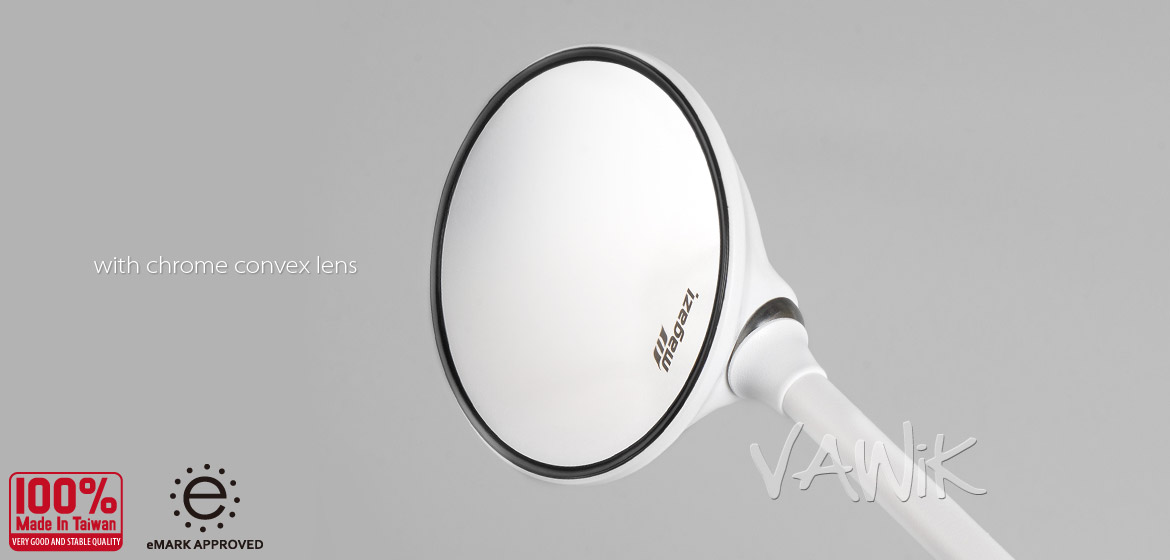 VAWiK Magazi Roundie steel motorcycle mirrors for Scooter white